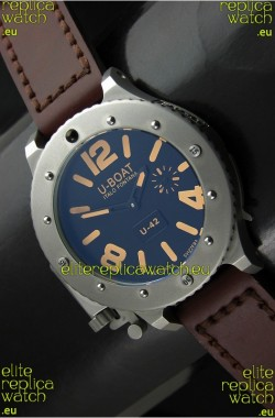 U Boat U-42 Diver Titanium Swiss Watch in Orange Markers