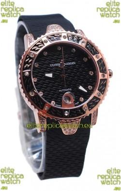 Ulysse Nardin Diver Pink Gold Watch in Black Dial
