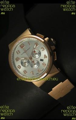 Ulysse Nardin Marine Chronograph Rose Gold Steel Arabic Black Dial - 1:1 Mirror Replica