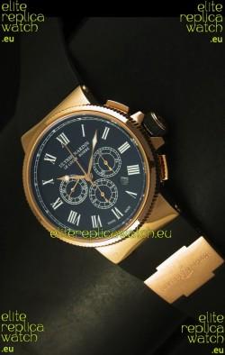 Ulysse Nardin Marine Chronograph Rose Gold Black Roman Black Dial - 1:1 Mirror Replica