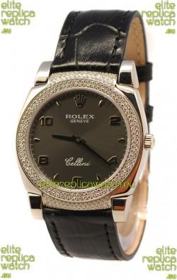 Rolex Cellini Cestello Ladies Swiss Watch in Matte Black Face Diamonds Bezel and Lugs