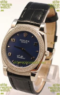 Rolex Cellini Cestello Ladies Swiss Watch in Dark Blue Face Diamonds Bezel and Lugs
