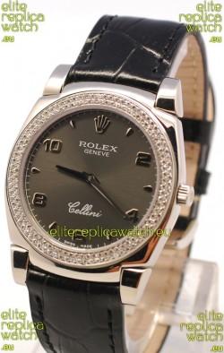 Rolex Cellini Cestello Ladies Swiss Watch in Grey Face and Diamonds Bezel