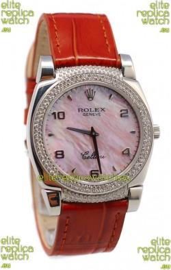 Rolex Cellini Cestello Ladies Swiss Watch Pink Pearl Face Diamonds Bezel and Lugs