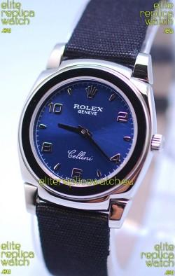 Rolex Cellini Cestello Ladies Swiss Watch in Blue Silver Face