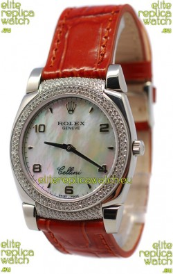 Rolex Cellini Cestello Ladies Swiss Watch Beige Pearl Face Diamonds Bezel and Lugs