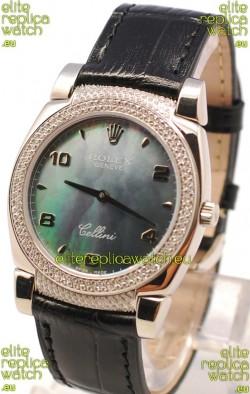 Rolex Cellini Cestello Ladies Swiss Watch in Black Pearl Face Diamonds Bezel and Lugs
