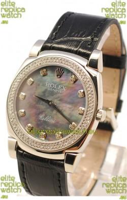 Rolex Cellini Cestello Ladies Swiss Watch in Black Pearl Face Diamonds Markers