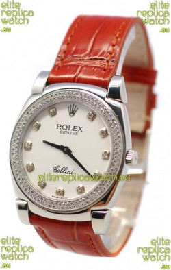 Rolex Cellini Cestello Ladies Swiss Watch White Face Diamonds Bezel and Hour Markers