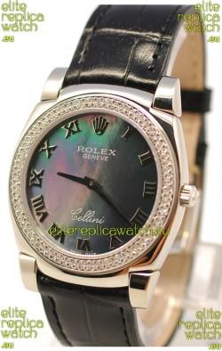 Rolex Cellini Cestello Ladies Swiss Watch in Black Pearl Face Roman Markers