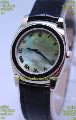 Rolex Cellini Cestello Ladies Swiss Watch in Green Pearl Face