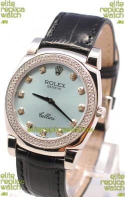 Rolex Cellini Cestello Ladies Swiss Watch in Blue Metalic Face Diamonds Markers