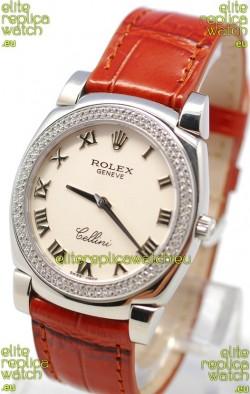 Rolex Cellini Cestello Ladies Swiss Watch White Roman Face Diamonds Bezel