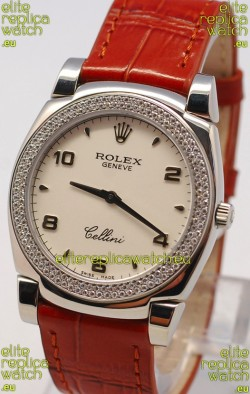 Rolex Cellini Cestello Ladies Swiss Watch in White Face Diamonds Bezel