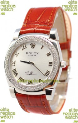 Rolex Cellini Cestello Ladies Swiss Watch Roman Silver Face Diamonds Bezel