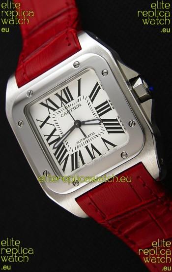 Cartier Santos De Cartier 1:1 Mirror Replica Red Strap 33MM Ladies Watch