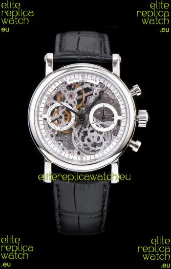 Patek Philippe Complications Skeleton Chronograph Watch in 904L Steel Case