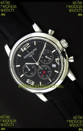 Patek Philippe Perpetual Calender Japanese Steel Watch in Black Dial