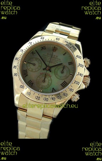 Rolex Daytona Cosmograph Swiss Replica Gold Watch in Color Mother of Pearl