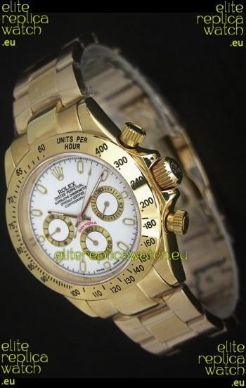 Rolex Daytona Japanese Replica Gold Watch in White Dial